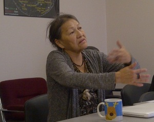 The Late Rosalie Little Thunder makes a point during a recent discussion about Lakota Language and Culture.
