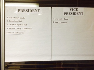 The public can view an updated list of candidates for the Rosebud Sioux Tribe 2015 Election. The list is on display at the Tribal Secretary's office in Rosebud, SD. Photo by Vi Waln.