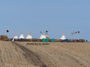 The Rosebud Sioux Tribe established a Spirit Camp in March 2014 along the now rejected route of TransCanada's Keystone XL pipeline. On November 6, 2015, President Obama denied TransCanada's application for a permit to allow construction to cross the Canadian border. The Rosebud Sioux Tribe hosted a public celebration on Saturday, November 14, 2015 at the SGU Multipurpose building in Mission, SD. Photo by Vi Waln.