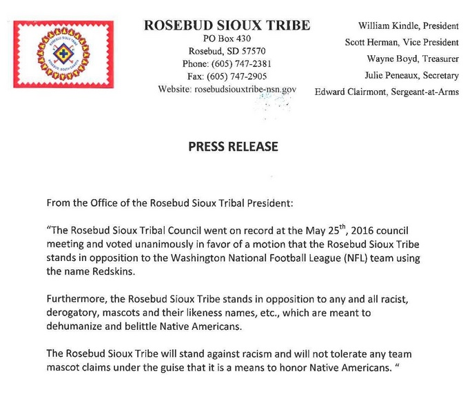 RST on record in opposition to Redskins